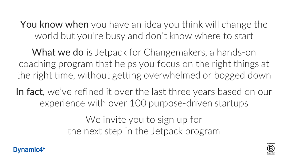Jetpack for Changemakers Gaddie Pitch Example